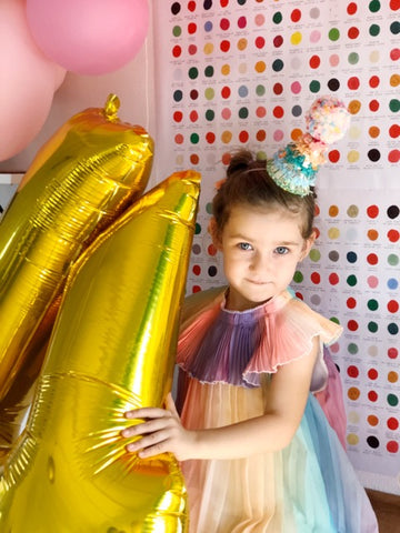 modern rainbow birthday party dress and decor
