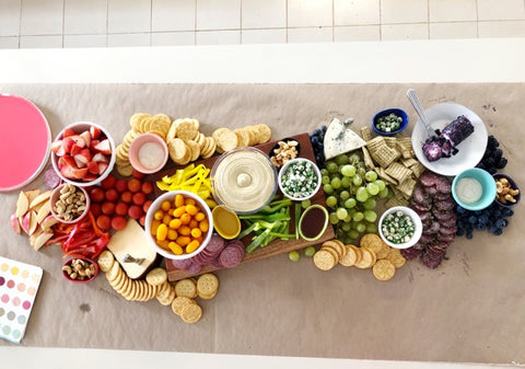 rainbow cheese board for birthday party