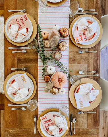 modern and casual thanksgiving tablescape