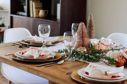 tablescape for thankgiving meets christmas