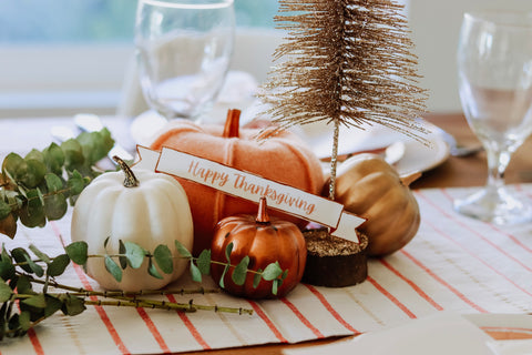target table runner with felt pumpkins for friendsgiving decorations