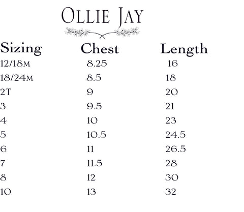 ollie jay size chart dresses
