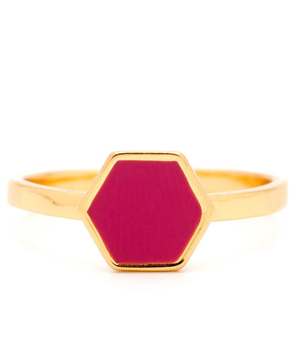 Fuchsia Sunset Hexagon Ring