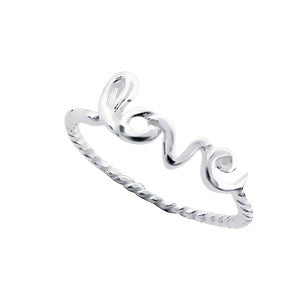 "sterling silver twisted rope with scripted ""love"" ring"