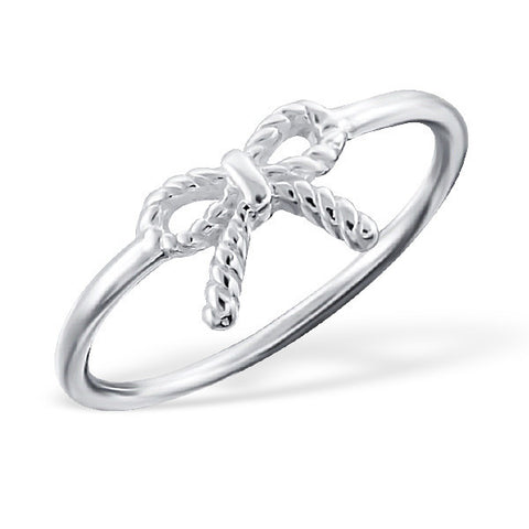 Tiny Silver Bow Ring