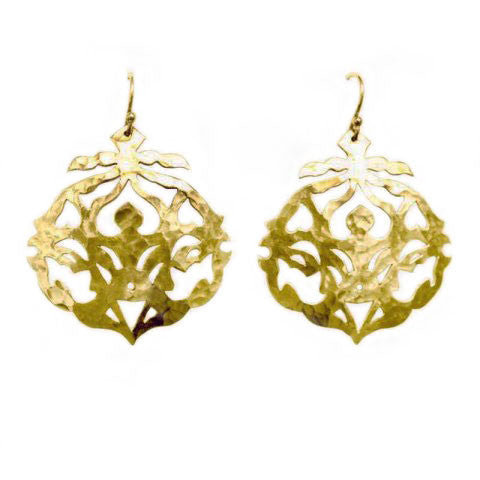 Andalusia earrings with hooks in yellow gold plate