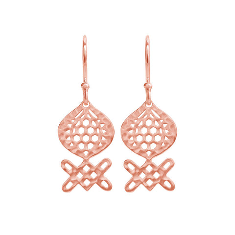 Andalusia Medium Hanging Earrings in Rose Gold Plate