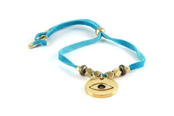 Protection Turquoise Leather Bracelet