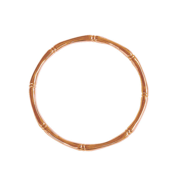 Bamboo round bangle plated in Rose Gold