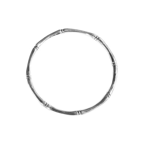 Bamboo round bangle in sterling silver 925