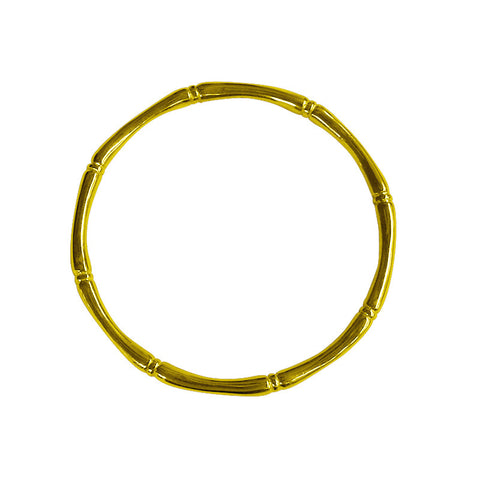 Bamboo round bangle plated in Yellow Gold