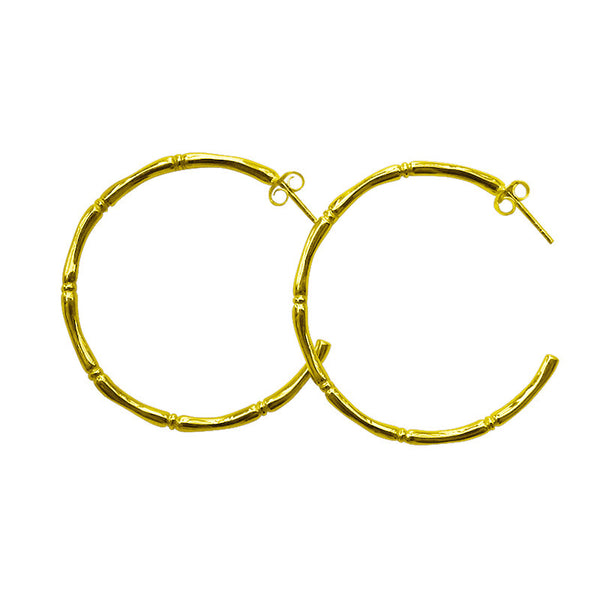 Bamboo Hoop Earrings gold plated in 22 carat gold
