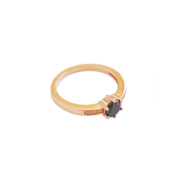 Circle Black cubic zirconia Stack Ring  Rose Gold plate