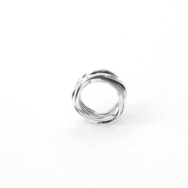 Crossover ring silver