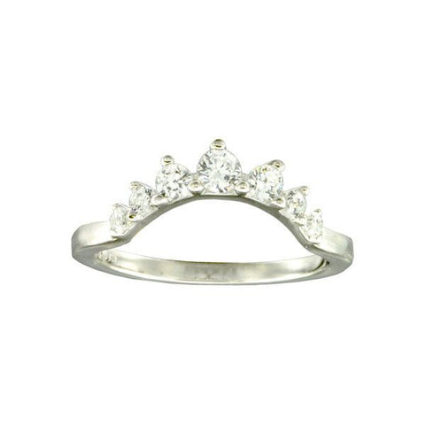 Curved Silver Cluster Ring with Cubic Zirconia detailing