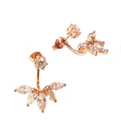 Ear Jacket CZ Studs Rose Gold