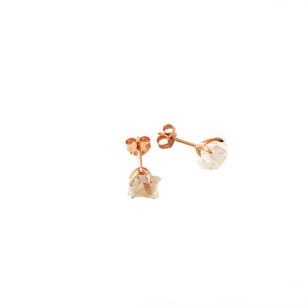 Quartz rose gold stud earrings