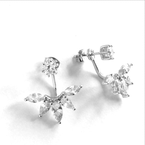 Silver ear jacket stud earrings with zirconia Ichu