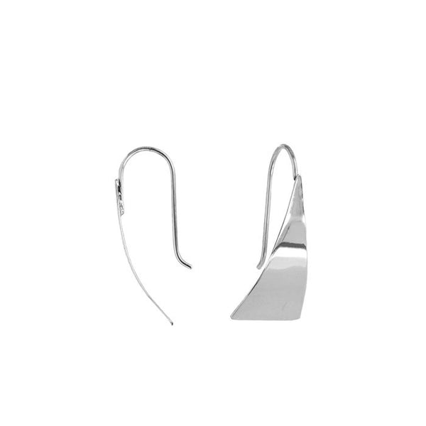 Elongated Triangular Drop Earrings Silver 925