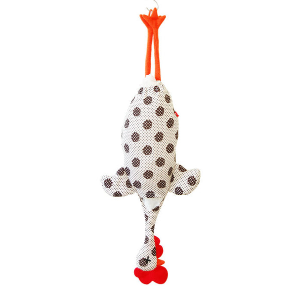 Etelvina Chicken Plastic bag holder - white with black circles and tiny dots