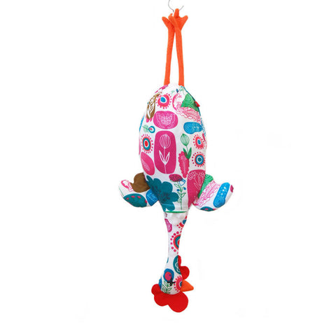 Etelvina Chicken Plastic bag holder - flowers modern red blue green