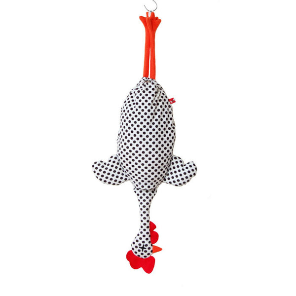 Etelvina Chicken Plastic bag holder - medium black dots on white