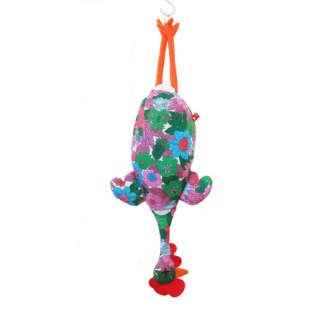 Etelvina Chicken Plastic bag holder - red blue green flowers