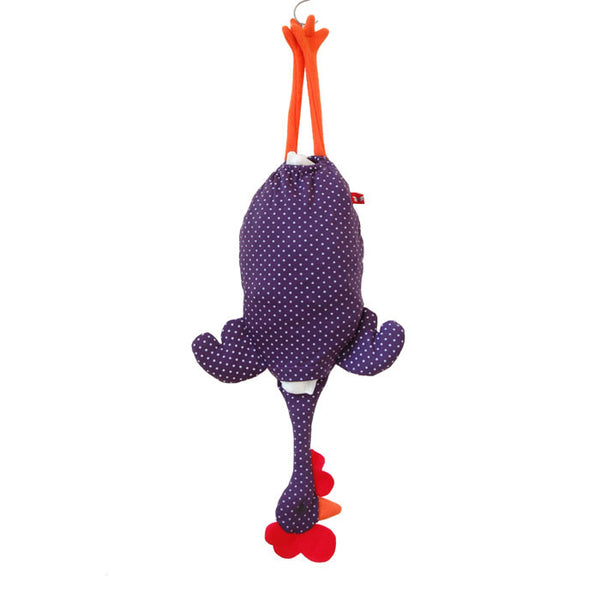 Etelvina Chicken Plastic bag holder - small white dots on purple