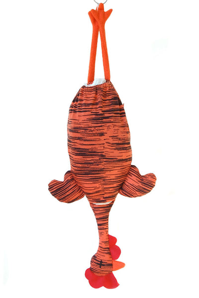 Etelvina Chicken Plastic bag holder - orange black tiger stripes