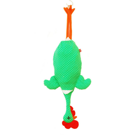 Etelvina Chicken Plastic bag holder - small white dots on green