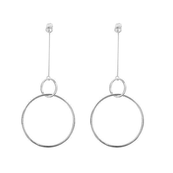 Chain Drop Hoops Earrings Sterling Silver 925