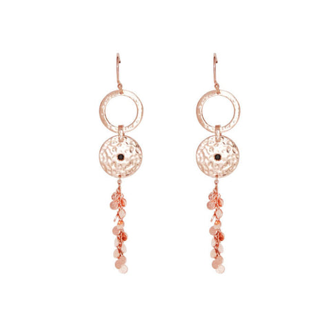 Grace Long Disc Earrings in Rose Gold Plate