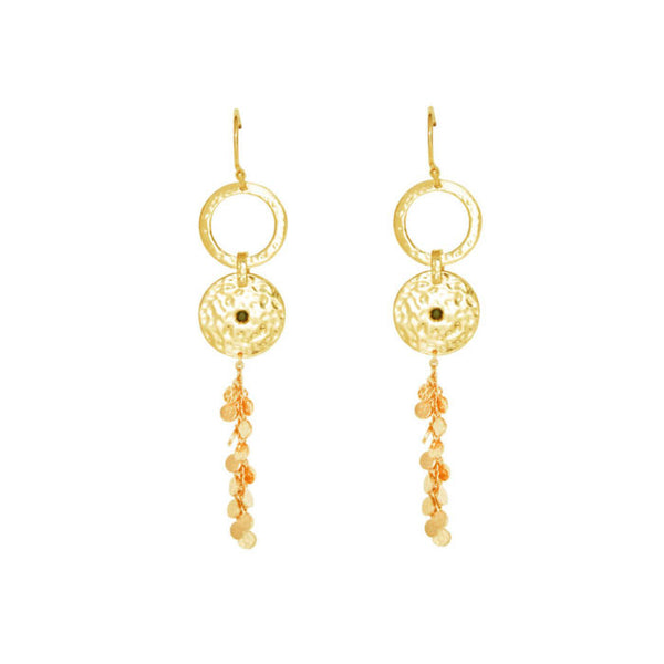 Grace Long Disc Earrings in 18 kt Yellow Gold Plate