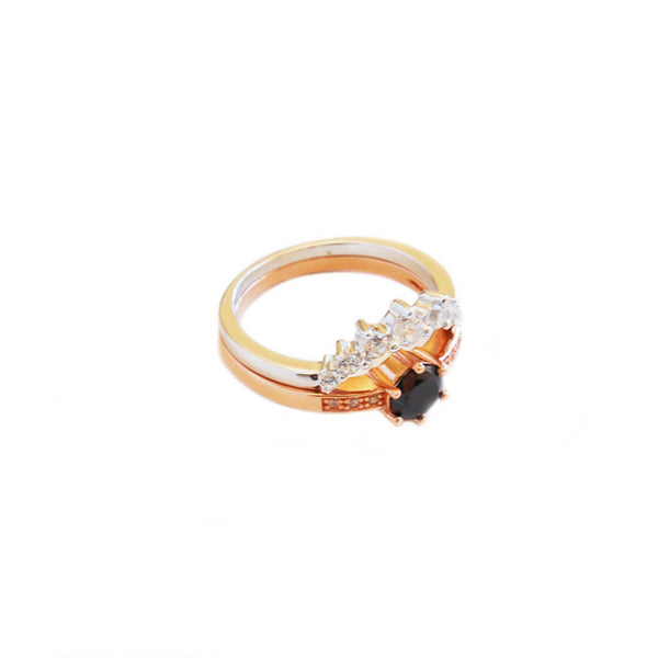 Circle cubic zirconia Stack Ring Black and Rose Gold plate