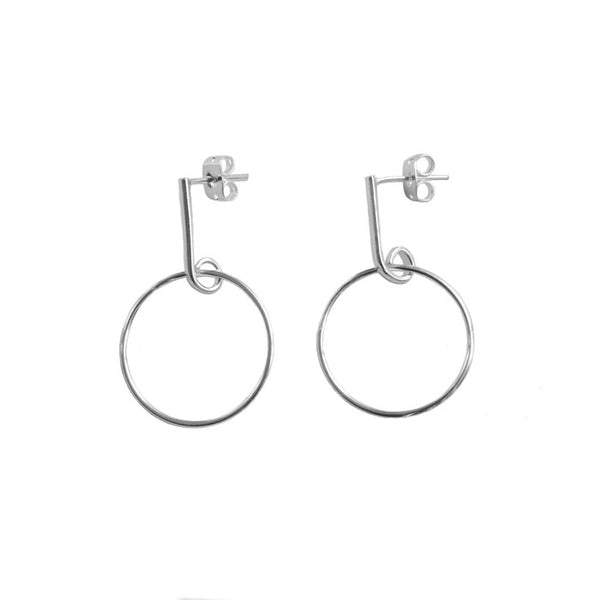 Circle Bar Drop Earrings Sterling Silver 925