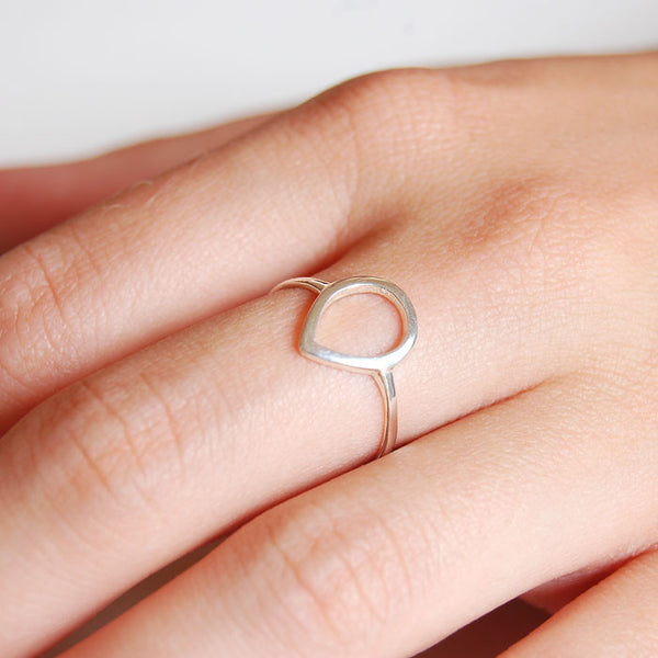 Fine Open Tear Drop Ring Silver Ichu