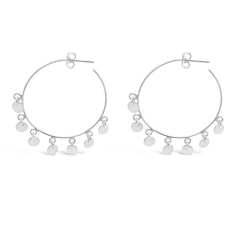 Tiny Dancer Hoop Earrings Silver 925