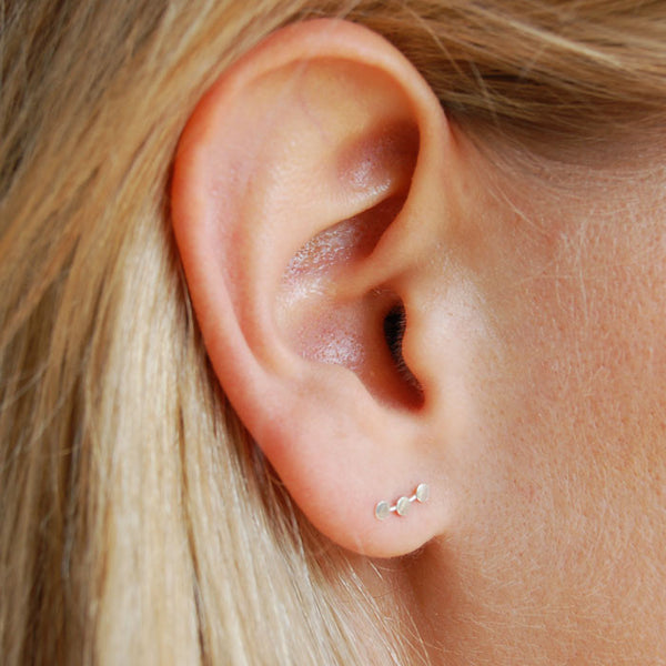 Tiny Triple Circle Silver Ear Cuffs