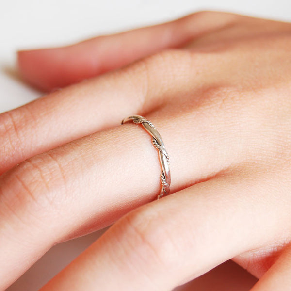 Rope Twist Silver Ring
