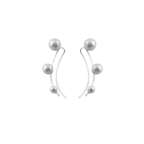 Triple Pearl Drop Earrings Silver