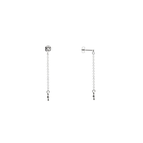 Tiny Triple Ball Chain Drop Earrings Silver 925