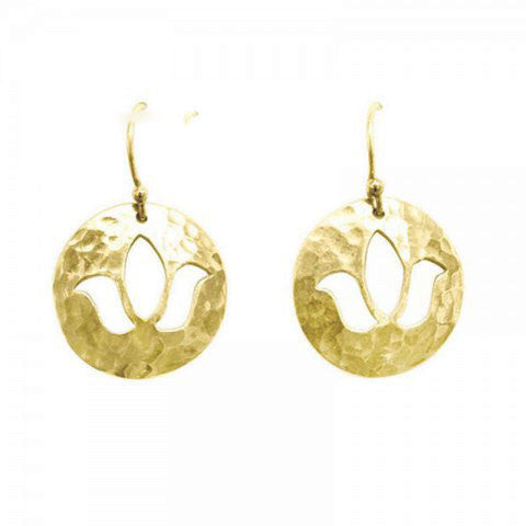 Lotus Disc Charm Earrings in Yellow Gold