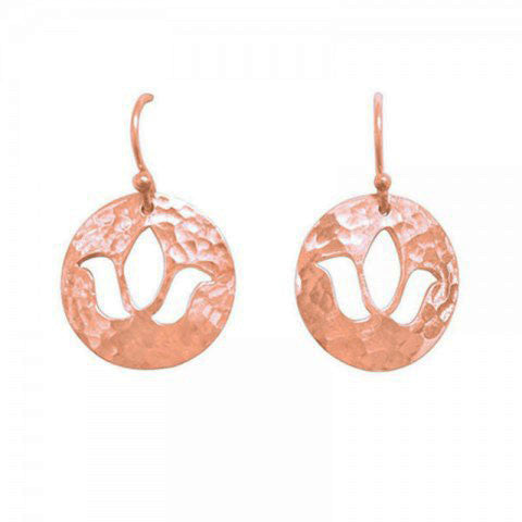 Lotus Disc Charm Earrings in Rose Gold