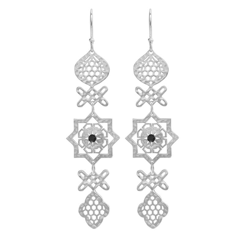 8e8e51355bc333 Andalusia Long Hanging Earrings with Black Spinel Stone in Sterling Si    Kamali Moon