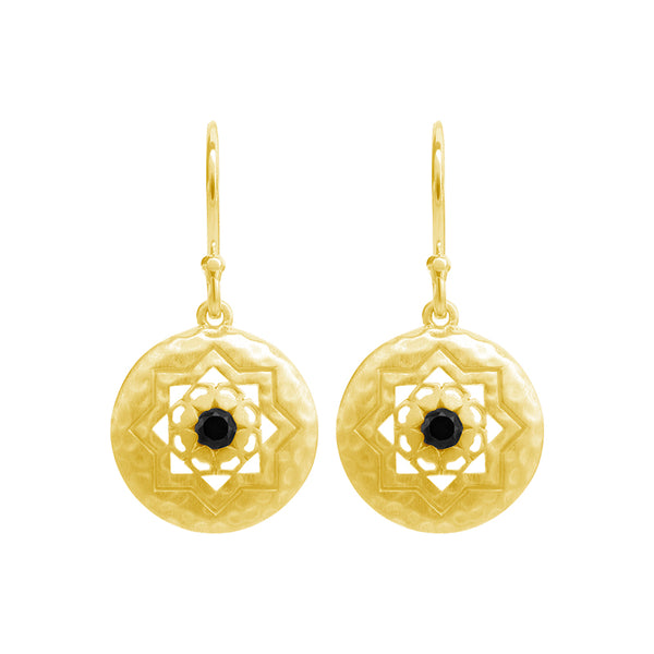 Andalusia Small Earrings with Black Spinel Stone in 18 KT Yellow Gold Plate