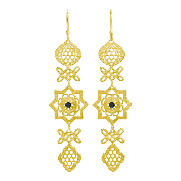 Andalusia Long Hanging Earrings with Black Spinel Stone in 18 KT Yellow Gold Plate