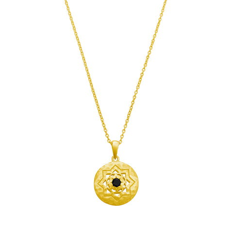 Andalusia Necklace with Black Spinel Stone in 18 KT Yellow Gold Plate