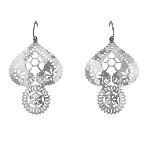Lace doily hook earrings sterling silver