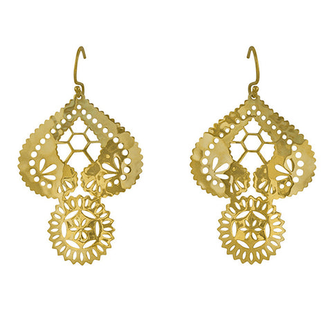 Lace Doily Hook Earrings in 22 KT Yellow Gold plate