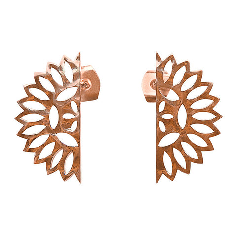 Lace Edge Earrings in Rose Gold plate